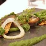 レストラン セビアン - 和歌山県産鮎の軽い燻製とパテ、胡瓜のソース 1,400円