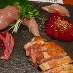 鶏焼将軍 - 軍鶏造り盛り合わせ1,080円で味もコスパも◎