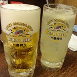 磯丸水産 - 生ビール、生グレープフルーツサワー