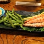 19546662 - 海老の塩焼き・枝豆・高野豆腐