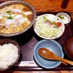 とんかつ和幸 - 和幸のロースかつ鍋ご飯(¥1344)ボリュームたっぷりでごはんが進む味、これで元気を出そう