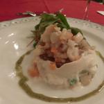 クルトン - 新玉葱とアスパラのムース 山独活のコンソメゼリー  サーモンとスズキとばい貝のタルタルのせ