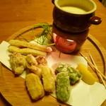 喜酒快膳 夢玄 - 【新筍と帆立、京生麩のカニ味噌チーズフォンデュ】