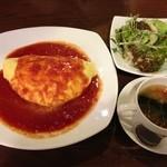 19565170 - エビオムライス&サラダ&スープ