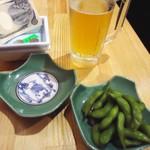19566521 - 「生ビール」300円。「枝豆」150円也。