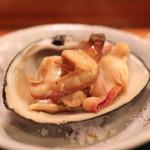 名登利寿司 - ほっき貝 (北海道) の 醤油炙り