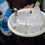 大越 - ハイリキプレーン1リットル950円 冷やして居ない関係で氷が一緒に提供される。