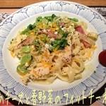 鎌倉パスタ   - 3種のチーズと春野菜のフィットチーネ(1144円)♪