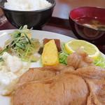 みなさん館 むすび庵 - ワンコイン500円、『本日のおまかせ』この日はしょうが焼き定食でした