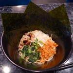 麺料理しんでぃ - 偶数日の絡めそば(¥750)。クリーム状のスープが、底にあるので、これと麺をぐりぐり混ぜて食する