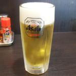 麺工房 武 - 生ビールと水餃子セット(750円)の生ビール