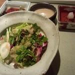 19617321 - サラダとお肉用ソース わさび醤油、ごまだれ、大根おろし