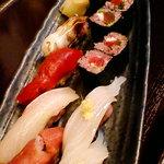 和のおもてなし ごんらん - ごん蘭オリジナル黒米寿司。ヘルシーで美味。