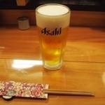 富久佳 - 生ビールを一気呑み