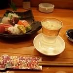 富久佳 - スタートはお造り盛り合わせ&冷酒