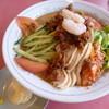 味A - 料理写真:2013.07 台湾冷やし中華を頼んでみました、微妙に日本式の雰囲気の中に肉みそが掛ったり台湾風?、、でわなぜにキムチ:汗