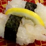 ふじ若丸 - 活うちわ海老 にぎり寿司