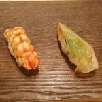 鮨 さか井 - 海老、鯛昆布締め。