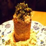 もつ鍋 野菜 古民家居酒屋 信助 - さくさく山芋のメンタイタカナのっけ