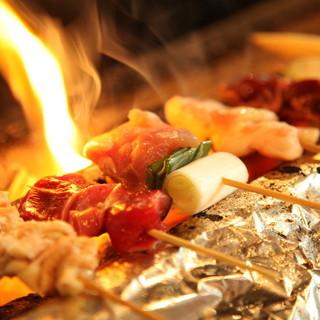 日本三大地鶏比内地鶏の炭火焼きがお勧め