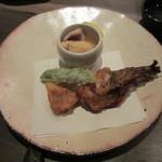 料理屋壱 - オコゼの頭と身の唐揚げ、モロッコインゲン、オコゼの卵と肝と皮