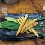 今生焼 - 野菜2品目はヤングコーンの醤油焼き、今が旬の美味しい食材を鉄板焼きでいただきました。