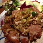 Nappajushi - 鶏のざくざくあげ 葱たっぷりソース