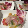 夢酒 - 料理写真:お任せコース料理の1品目 真鯛のカルパッチョ カラスミ散らし