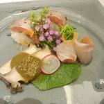 Kuma3 - お造り(真鯛昆布〆、鮑、大目鱒鮨)