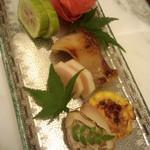 Kuma3 - 焼き物(金目味噌漬け ほうずき南瓜 蛤 白瓜卯龍 とうもろこし真丈)