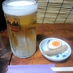 19770978 - アサヒ中生600円とお通しの味玉とメンマ