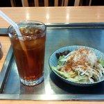 海老名ぱすたかん - ランチサラダとアイスティー