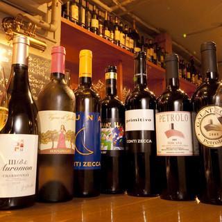 ¥480のグラスワイン、¥2500ボトルワイン手頃感の有るワインをゆっくりと