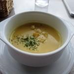 19798502 - 最初のスープはコーンポタージュのカップスープ、濃厚なスープです。