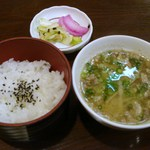 かわせみ - 鱈汁・漬け物・ご飯