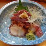 杜都 - 刺身盛り合わせ(鮪・石鯛・煮蛸)