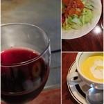 ステーキハウス松波 - ランチ スープとサラダとワイン