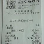 無添くら寿司 - レシート(2013.06.30)