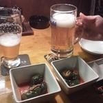 仙次郎 - 生ビールとオイキムチ