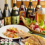 和食・海産物 稲穂 - 料理写真:お酒好きの方に朗報! 3時間あれば、飲んで食べて飲んで…満足できること間違いありません。しかも、グループごとの予算や要望に合わせて料理をつくってもらえるので、ぜひ気軽に相談を。