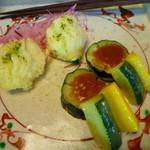 かりほ庵 - 【鱧の天ぷらと茄子味噌田楽とズッキーニの酢の物】
