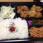 横浜 扇茶屋弁当 - 今日の昼はガーリック唐揚げ弁当ごはん大盛で!