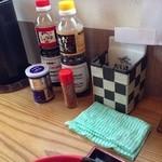19846190 - 赤い容器は卵かけごはん用の醤油、黄色い容器は追加のダシ。