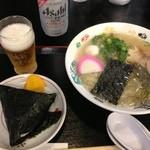 19847417 - さんわ本店 塩ラーメンとおにぎりセット \700円