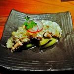 佐五右衛門 - 蒸し鶏と茄子 生姜と葱のソース 400円