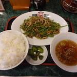茨珍麺飯食堂 - 豚肉とピーマンの細切り炒め定食(ライス大盛)(990円)
