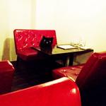 黒猫cafe - 1席に1匹ずつ黒猫がいます。店内で購入出来ます。