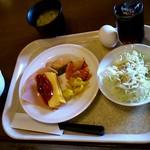 HOTEL AZ - 料理写真:●ごはん、味噌汁、サラダ、玉子、卵焼き、焼き魚、アイスコーヒーなど(2013.04)●