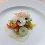 ラ・ソラシド フードリレーションレストラン - ハモの湯引きとアルケッチャーノ風カポナータ