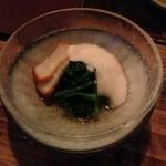 19894540 - とろろ芋、ホタテの燻製とつるむらさきの冷菜★★☆